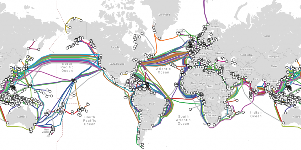 Subsea cables map
