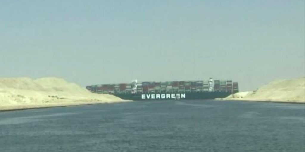 Container ship Ever Given blocks the Suez Canal in March 2021